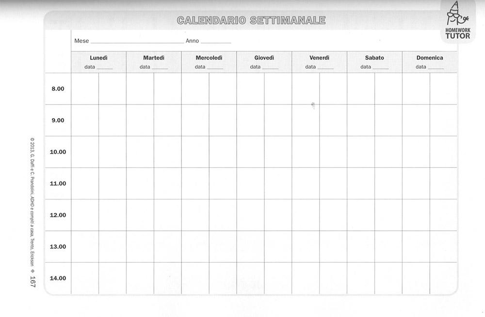 ADHD e Compiti a casa - Calendario